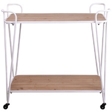 Natural & White Kaylin Pine Wood Drinks Trolley