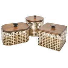 3 Piece Brass Storage Box With Lid Set