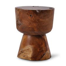 Fauzi Hourglass Reclaimed Teak Wood Stool