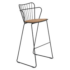 78cm Paon Metal & Bamboo Outdoor Barstool