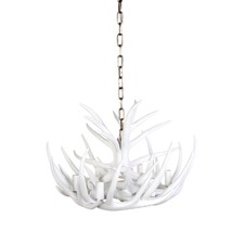 6 Arm White Antler Chandelier
