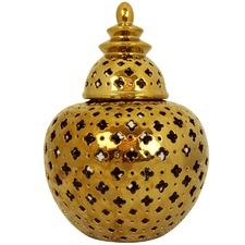 Gold Miccah Ceramic Temple Jar