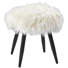 Leila Fluffy Mongolian Lambs Wool Stool