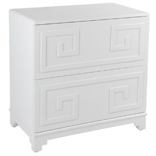 White Greek Key Bedside Table