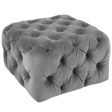 Leah Pinewood Upholstered Pouffe