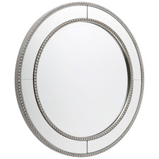 Round Antique Silver Zeta Wall Mirror