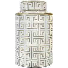 White & Gold Greek Key Jar