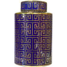 Navy & Gold Greek Key Jar