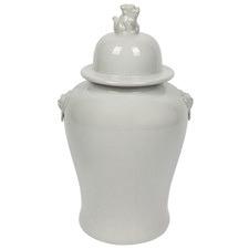 White Lion Ceramic Jar
