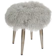Grey Dixie Mongolian Fur Stool