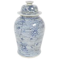 Blue Shellcove Porcelain Temple Jar