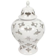 White Morocco Ceramic Temple Jar