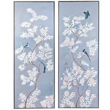 2 Piece Ming Palais Framed Handcrafted Oil Painting Canvas Wall Art Set