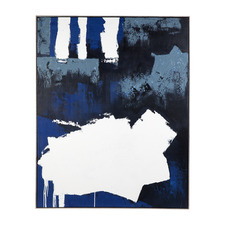 Blue Paradise Hand-Painted Framed Canvas Wall Art