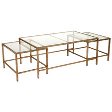 3 Piece Charlotte Rectangular Glass-Top Nesting Table Set