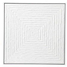 White Vortex Hand-Painted Framed Canvas Wall Art