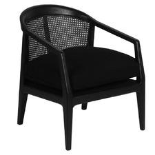Black Nicholls Oak Wood & Rattan Armchair