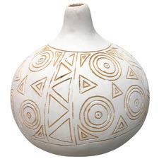 White Carved Round Gourd Vase