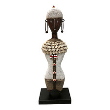 White & Brown Beaded Ndamji Princess Doll Decor