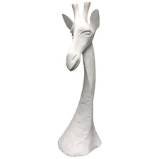 White Carved Wooden Giraffe Head Accent