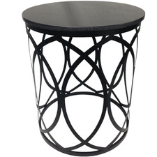 Black Drum Side Table with Granite Top