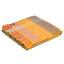 Checkered Marigold Mohair Throw