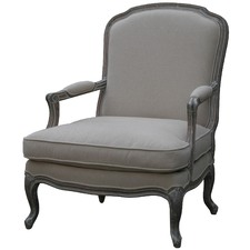 Louis XV Upholstered Bedroom Chair in Wash White