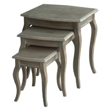 3 Piece White Wash Nesting Table Set