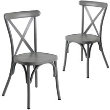 Retro Cross Back Dining Chairs (Set of 2)