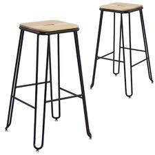 75cm Ash Wood & Steel Industrial Barstools (Set of 2)