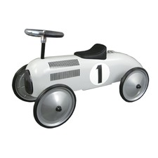 White Metal Speedster Ride-On Car