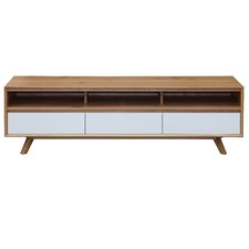 White & Natural Claire Lowline TV Unit