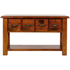 Wallace Pine Wood  4 Drawer Console Table