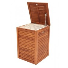 Bath Teak Single Laundry Hamper with Lining