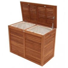 Bath Teak Double Laundry Hamper with Lining