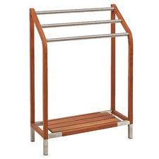 Bath Teak Stainless Steel and Teak Towel Rack