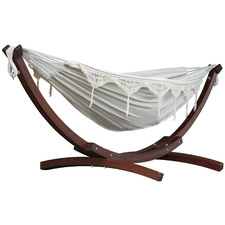 Natural Fringed Double Cotton Hammock with Stand