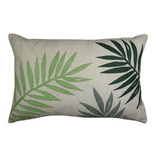 Green Palm Embroidered Cotton Breakfast Cushion