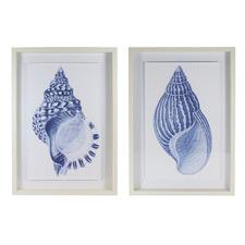 2 Piece Blue Atlantic Framed Printed Artwork Set