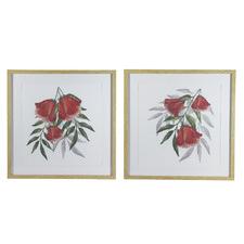 2 Piece Drop Flower Framed Printed Artwork Set