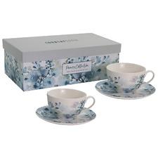 Aqua & Green Pansy 220ml New Bone China Teacups & Saucers (Set of 2)