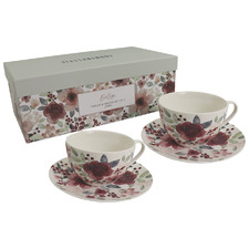 Evelyn 220ml New Bone China Teacups & Saucers (Set of 2)
