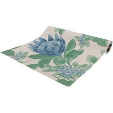 Blue & Green Protea Cotton Table Runner