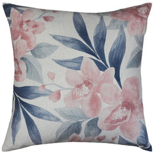 Blush & Slate Orchid Linen-Blend Cushion