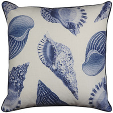 White & Indigo Atlantic Linen-Blend Cushion