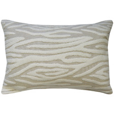 Neutral Embroidered Zebra Cotton-Blend Cushion