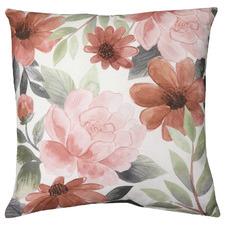 Red Fleur Linen-Blend Cushion