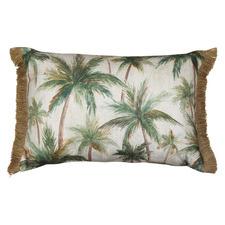 Natural Fringed Palms Rectangular Cushion
