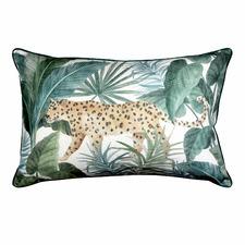 Teal Jungle Leopard Linen-Blend Breakfast Cushion