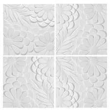 White Blossom 3D Wall Art (Set of 4)